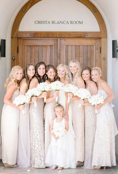 Brides.com: . For decades brides thought they had to dress their bridesmaids in a uniform look that may or may not suit their girls' personal style. Long gone are those days! More brides and their 'maids are opting to go for a mismatched bridal party — whether it's a combo of colors, silhouettes, fabrics, or all three.  There's absolutely no reason why your girls can't choose their own style. After all, while this is your day, you want your closest friends and family to feel comfortable and…