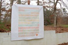 """365"" Wedding Quilt - there is a coloured strip for each day of their relationship up to their wedding 
