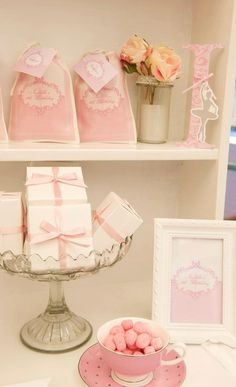 pink damask ballerina party: love using china tea cups to complement the look