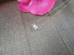 14k gold filled clear quartz bead bar necklace / by AlohaXO