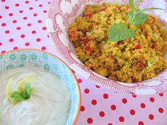 Couscous salad with basil, peppermint, chili and a dressing with fig vinegar