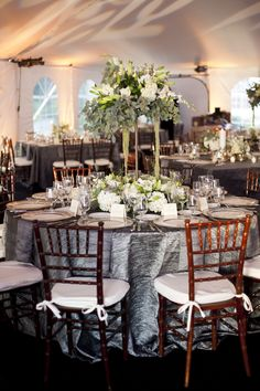 Silver-Bronze-and-Gold-Wedding-Reception.  Love the use of Silver & Mahogany Chairs