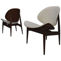 Beautiful Pair of Bent Walnut & Cream Leather Kodawood Lounge Chairs 1 $1500