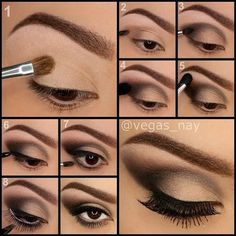 How To Apply Eyeshadow: Tutorials For Brown Eyes. Step by step easy application. Beauty Tips and Tricks. Makeup Tutorials http://makeuptutorials.com/13-best-eyeshadow-tutorials-brown-eyes/