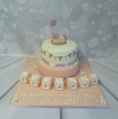 2 tier christening cake for a baby girl with elephant topper and nursery blocks decoration. Baby Girl Christening Cake, Farm Cake, Girl Cakes, Celebration Cakes, Cake Designs, Cake Ideas, Elephant, Birthday Cake, Nursery