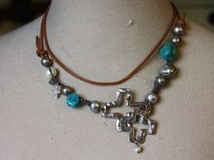 Turquoise Pearls and Crosses Necklace - one of a kind silver crosses, goes with everything!  Today only $150 - direct link http://shelbilavender.com/necklaces-2/018-14/