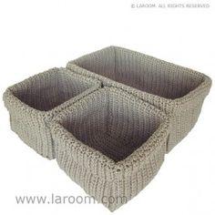 Laroom - Juego 3 cestas beige - Laroom diseña las cestas más bonitas del mundo - www.laroom.com