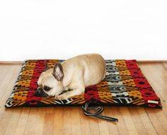 French Bulldog enjoying the Camp Mat: Dog bed, cat pillow, pet travel bed, from Etsy.
