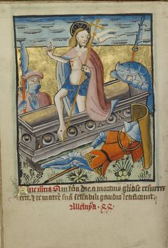 The Resurrection; Unknown; Norfolk [perhaps] (written), East Anglia, England; illumination about 1190; written about 1490; Tempera colors and gold leaf on parchment; Leaf: