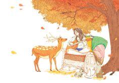 가을의 바람소리를 따라서 기타소리가 숲속에 퍼지면 새로운 친구들이 찾아온다.
