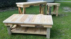 """RECYCLED WOOD PALLETS: This was a custom design a client asked us to build. The Coffee Table is 48"""" L x 28"""" W x 18"""" H. The End Table is 24"""" L x 18"""" W x 22"""" H. The matching Sofa Table is 55"""" L x 16"""" W x 32"""" H. The entire set of 3 tables """"naked"""" is $250. The Coffee Table is $100, the End Table is $60 and the Sofa Table, is $105. Message us if you are interested in a set of tables or single item. (Staining is $15 extra for each piece.)    Item # 571"""