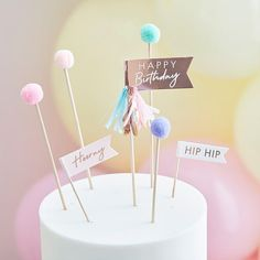 Pom Pom Birthday Cake Toppers | Cake Toppers and Cake Decorations – The Original Party Bag Company Birthday Flags, Gold Birthday Cake, Happy Birthday Cake Topper, Birthday Cup, Pastel Party Decorations, 21st Birthday Decorations, Cake Decorations, Pastell Party, Rose Gold Party Supplies