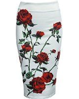 Choies Women's Vintage Retro Black High Waist Floral Print Tulle Knee Length Skirt at Amazon Women's Clothing store:
