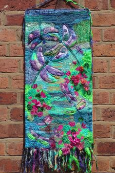 Textile Fibre Art Dragonflies Wall Hanging by FabricsofNature