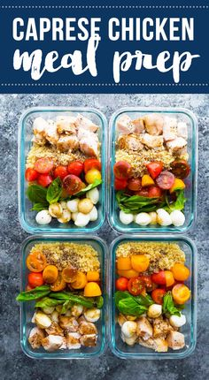 Caprese chicken salad meal prep bowls bring a dose of summer to your lunch. With baked chicken, fresh cherry tomatoes, baby bocconcini, quinoa and basil leaves all drizzled in a balsamic vinaigrette. #sweetpeasandsaffron #mealprep #salad #chicken #quinoa via @sweetpeasaffron