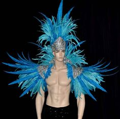 Turquoise Nandu and Coque  Feather Backpiece with Headdress