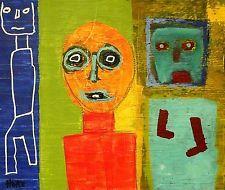 NEON LIGHTS Hoke Outsider RAW Folk Abstract Art Brut Painting nAIVE vISIONARY