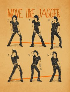 This print by digital artist Maximilian San is equal parts music inspired art and instructional dance guide. A silhouetted Mick Jagger takes you through the steps to some of his signature moves. Don't even pretend like you're not already on Step 3 as you read this.