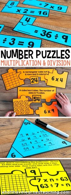 Number Puzzles for Third Grade engage students in using a variety of models, strategies and equations when solving problems. These number puzzles are for third grade multiplication and division. Math Tutor, Teaching Math, Preschool Learning, Math Strategies, Math Resources, Fourth Grade Math, 4th Grade Math Games, 3rd Grade Activities, Number Puzzles