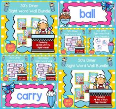 This bundle features all 300 of Fry's sight words! 196 pages of diner themed word wall posters to brighten your classroom!  My 50's Diner Sight Word Wall Bundle includes: All 300 Fry sight words Diner themed word wall letter headers