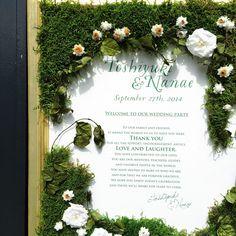 Moss themed wedding welcome sign モスのウェルカムボード