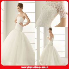 Strapless Satin Tulle Pleated Mermaid Floor Length Lace Beaded Wedding Dress