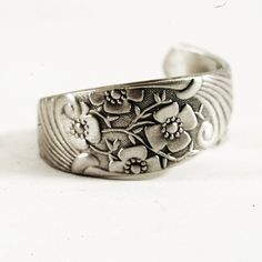Small Sterling Silver Buttercup Spoon Ring Edwardian by Spoonier