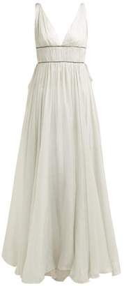 Maria Lucia Hohan Sage Crystal Embellished Silk Gown