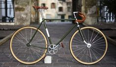 Restored road bike to fixed gear. Vintage bicycle.