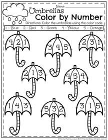 Spring Preschool Worksheets for April - Color by NumberTap the link to check out great fidgets and sensory toys. Check back often for sales and new items. Happy Hands make Happy People! April Preschool, Preschool Weather, Preschool Activities, Weather Crafts, Weather Activities, Preschool Printables, Kindergarten Worksheets, Pre K Worksheets, Transitional Kindergarten