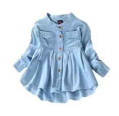 New Girls Jean Blusas de Moda Ropa de Bebé Niñas Jeans Camisas Blusa de manga larga Jeans Shirt For Girl, Baby Girl Jeans, Baby Girl Shirts, Girls Jeans, Shirts For Girls, T Shirt, Baby Girls, Toddler Girls, Shirt Men