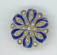 Royal Blue Pierced Enamel Button with by AntiqueButtons4u on Etsy
