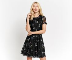 Oasis, FOREST BUTTERFLY LACE DRESS Black