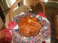 Ukrainian Easter bread, Paska. My dog has her eye on the bread.