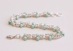 Hey, I found this really awesome Etsy listing at https://www.etsy.com/listing/130073253/mint-green-beaded-bracelet-byzantine