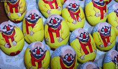 painted rocks: clown Slava Polunin painted stone