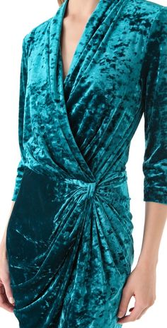 Catherine malandrino Crushed Velvet 3/4 Sleeve Faux Wrap Dress in Blue (turquoise) | Lyst