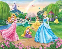 Walltastic, poster- fotobehang Disney prinsessen fotobehang! Met Assepoester, Doornroosje, Rapunzel, Ariel, Belle en Sneeuwwitje.