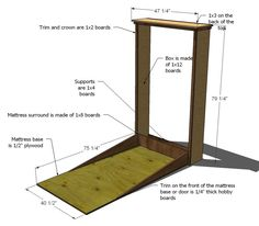 Free DIY plan for murphy bed. Can build vertical or modify for horizontal - with a faux dresser front! @Donna Kokinda