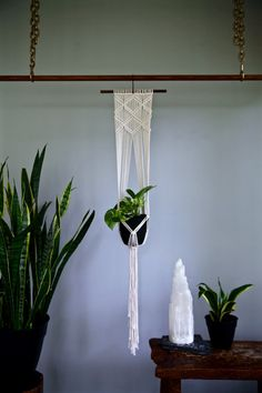 Macrame Plant Hanger Natural White Cotton Rope on by BermudaDream