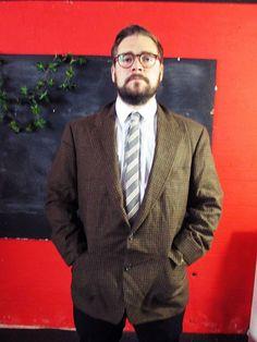 Vintage 1970s Brown Tweed HOUNDSTOOTH Blazer Jacket Large