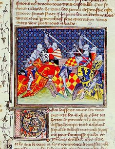Attributed to the Master of the Duke of Bedford Hours, jousting scene, c. 1410 (also possibly part of BL ms. Harley 4431)