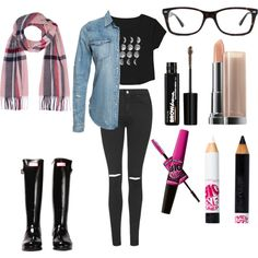 Untitled #91 by fashionxstuff on Polyvore featuring polyvore fashion style Denim & Supply by Ralph Lauren Topshop Hunter Ray-Ban River Island Maybelline