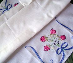 Vintage Hand Embroidered Bureau Scarf Table Scarf Flowers and RibbonsTable Linens Table Runner Handmade Cottage Chic Vintage Linens Vintage Linen, Birthday Gifts For Her, Fashion Books, Cottage Chic, Embroidered Flowers, Gifts For Him, Linens, Unique Gifts, Retro