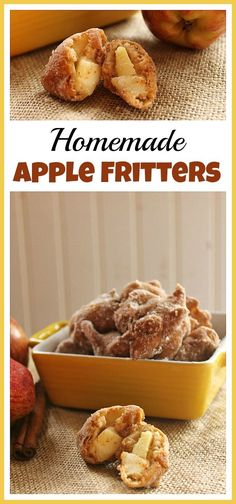 The combination of apples and cinnamon in these homemade apple fritters is delicious! These make a great dessert, snack, or even a good breakfast treat!