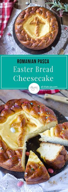 Romanian Easter Bread Cheesecake - Celebrate Easter with pasca, a traditional Romanian cake that combines the fragrant sweet bread and soft cheesecake filling that satisfies your palate and feeds a cr Easter Recipes, Holiday Recipes, Easter Cheesecake, Cheesecake Deserts, Romania Food, Romanian Desserts, Romanian Recipes, Turkish Recipes, Cheese Cake Filling