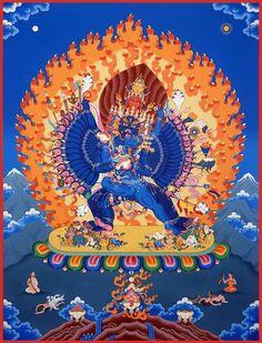 Buddhist Tantric Practice Support to subdue Tibet Art, Vajrayana Buddhism, Thangka Painting, Deities, Mystic, Buddha, Meditation, Spirituality, Finger Food