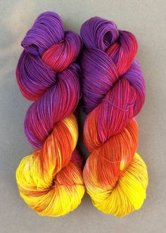 Mississippi Sunset Hand dyed yarn sock weight by YellowJuneFiberCo