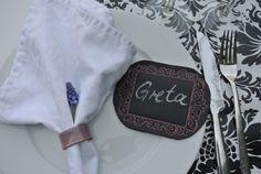 Place cards made of chalk cloth Tischkärtchen aus Tafelstoff / 4Stk. von Babylees auf DaWanda.com