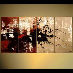 red black abstract art multi panel decor